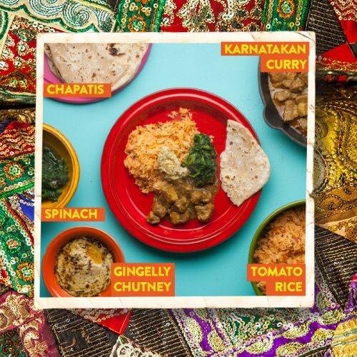 Karnatakan Curry with Tomato Rice and Gingelly Chutney