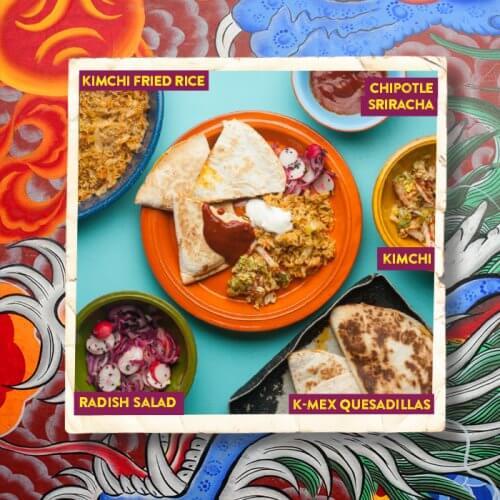 K-Mex Quesadillas with Kimchi Fried Rice and Chipotle Sriracha