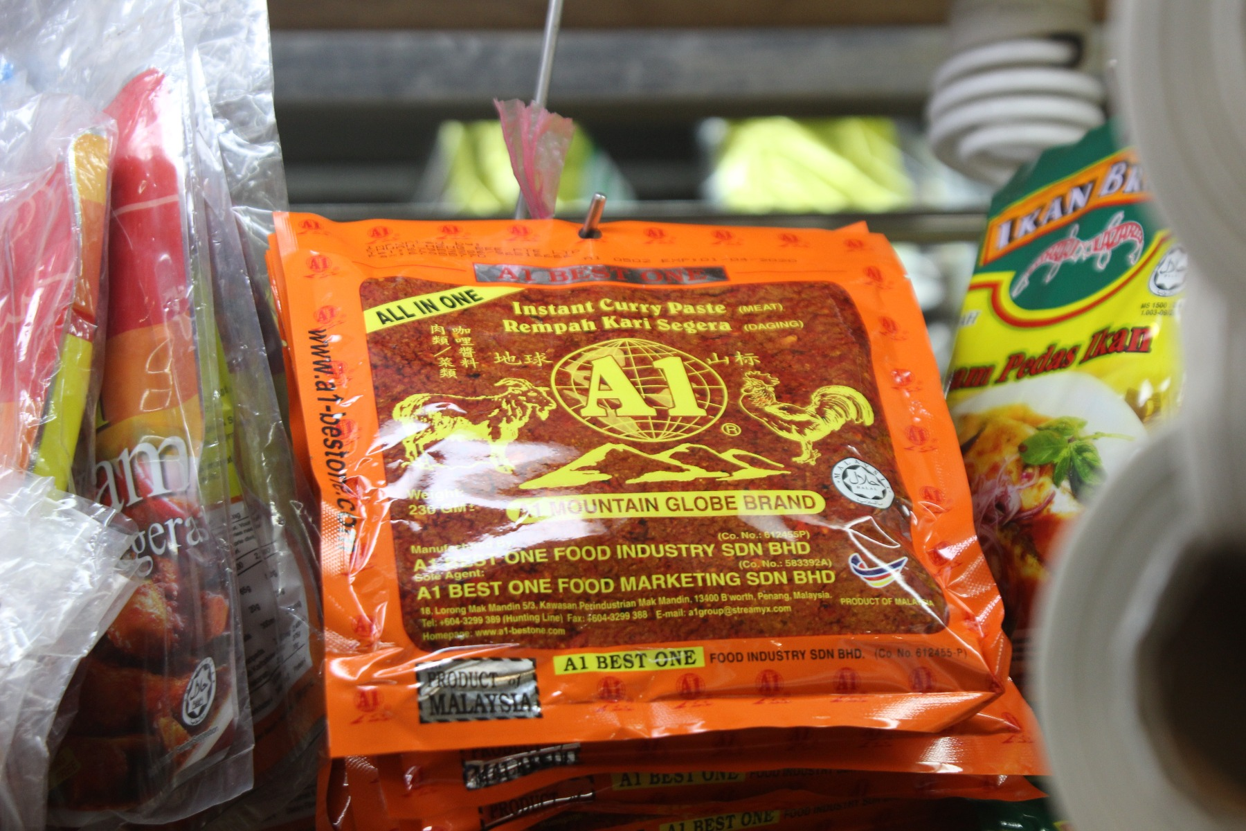 Curry paste sachet in market